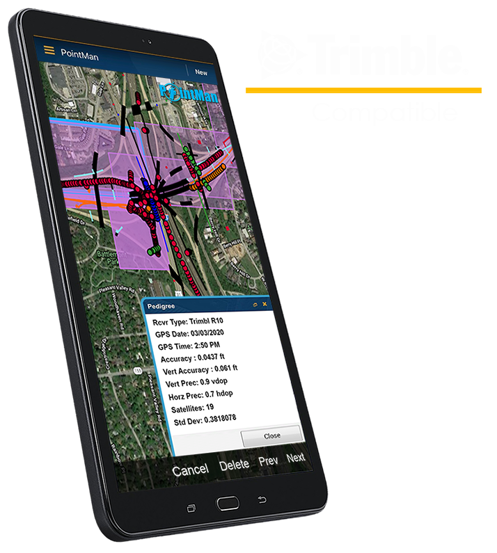 PointMan Features: Compatible with Trimble